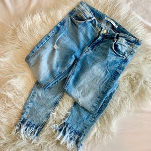 Zara 4 Fringe Skinny Denim Raw Fray Step Hem Jeans